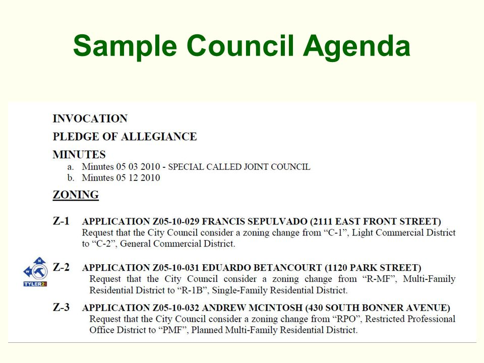 Sample Council Agenda
