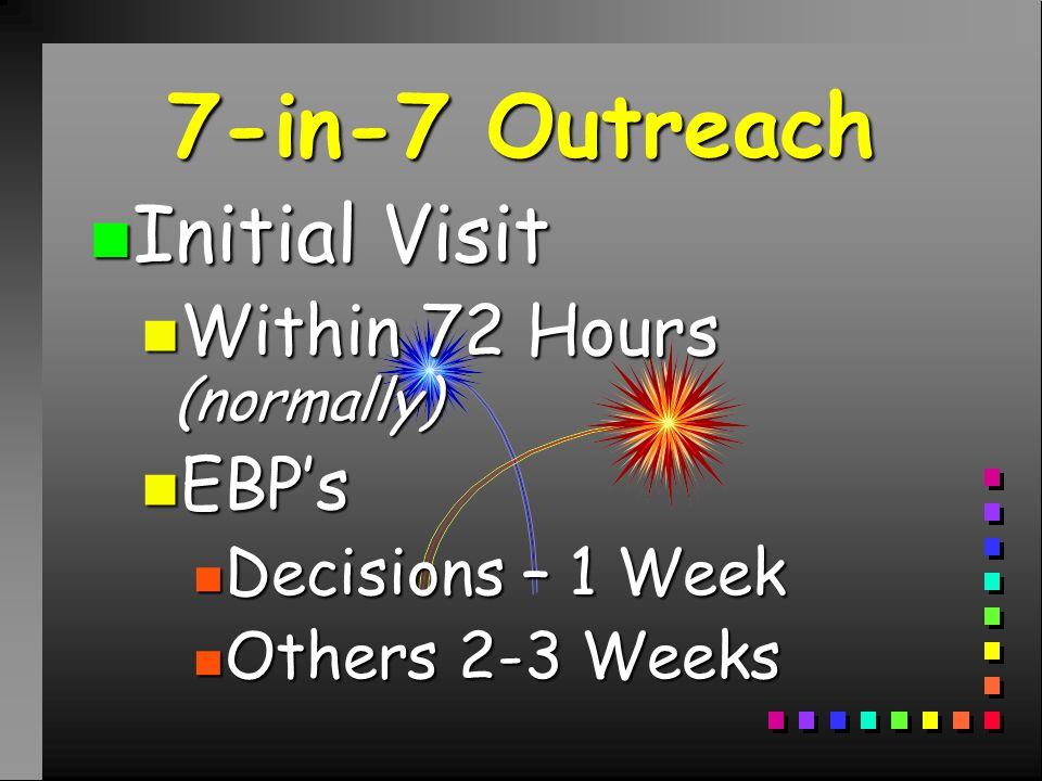 7-in-7 Outreach n Initial Visit n Within 72 Hours (normally) n EBPs n Decisions – 1 Week n Others 2-3 Weeks