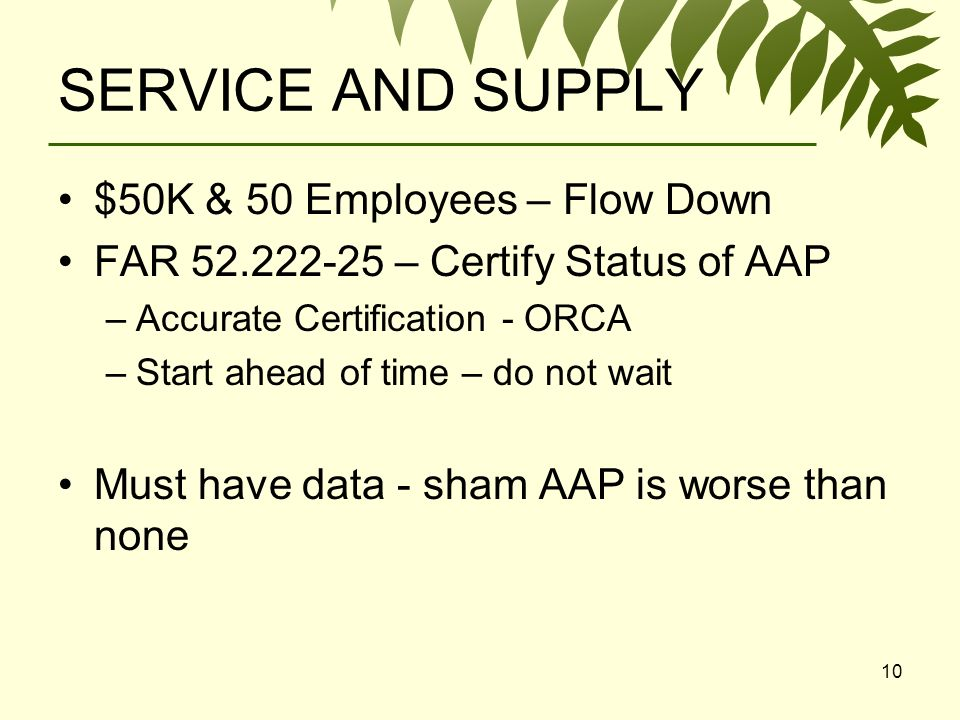 10 SERVICE AND SUPPLY $50K & 50 Employees – Flow Down FAR – Certify Status of AAP –Accurate Certification - ORCA –Start ahead of time – do not wait Must have data - sham AAP is worse than none