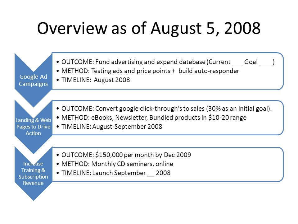 Overview as of August 5, 2008 Google Ad Campaigns OUTCOME: Fund advertising and expand database (Current ___ Goal ____) METHOD: Testing ads and price points + build auto-responder TIMELINE: August 2008 Landing & Web Pages to Drive Action OUTCOME: Convert google click-throughs to sales (30% as an initial goal).