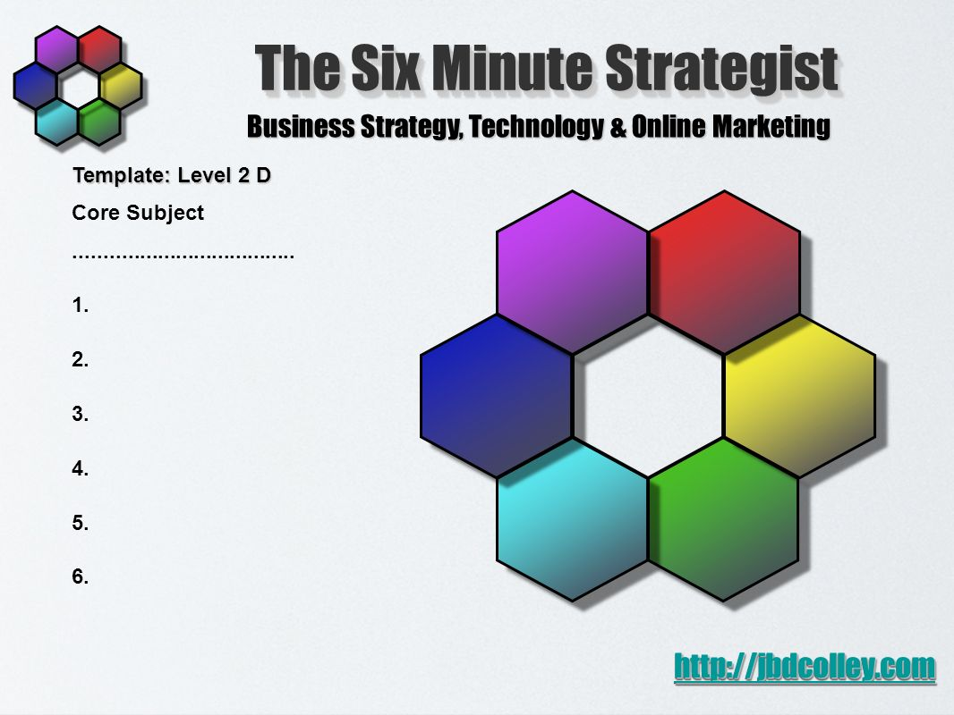 The Six Minute Strategist Business Strategy, Technology & Online Marketing http://jbdcolley.com Template: Level 2 D Core Subject.....................................