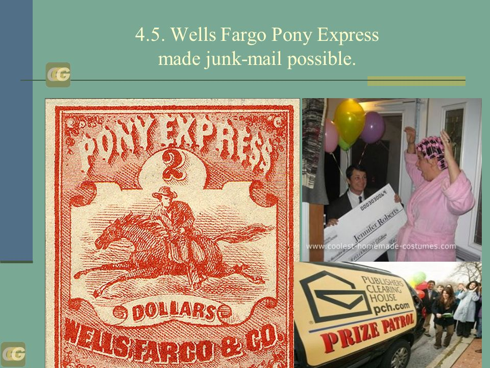 4.5. Wells Fargo Pony Express made junk-mail possible.