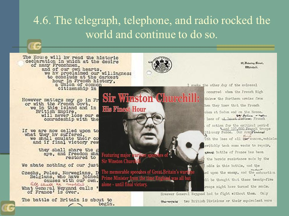 4.6. The telegraph, telephone, and radio rocked the world and continue to do so.