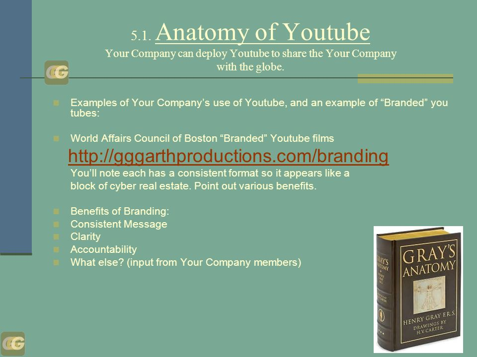 5.1. Anatomy of Youtube Your Company can deploy Youtube to share the Your Company with the globe.