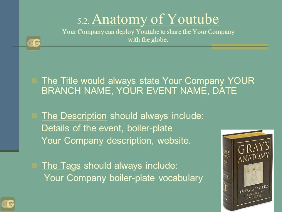 5.2. Anatomy of Youtube Your Company can deploy Youtube to share the Your Company with the globe.