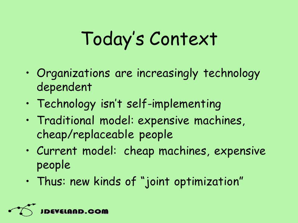 Todays Context Organizations are increasingly technology dependent Technology isnt self-implementing Traditional model: expensive machines, cheap/replaceable people Current model: cheap machines, expensive people Thus: new kinds of joint optimization