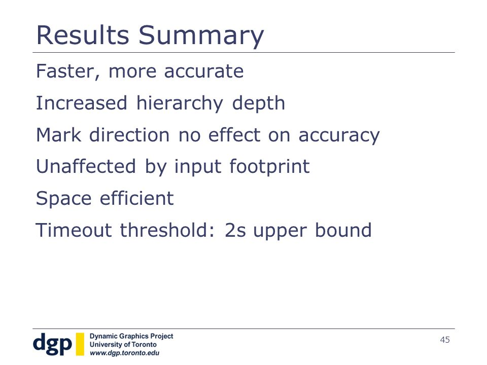 45 Results Summary Faster, more accurate Increased hierarchy depth Mark direction no effect on accuracy Unaffected by input footprint Space efficient Timeout threshold: 2s upper bound