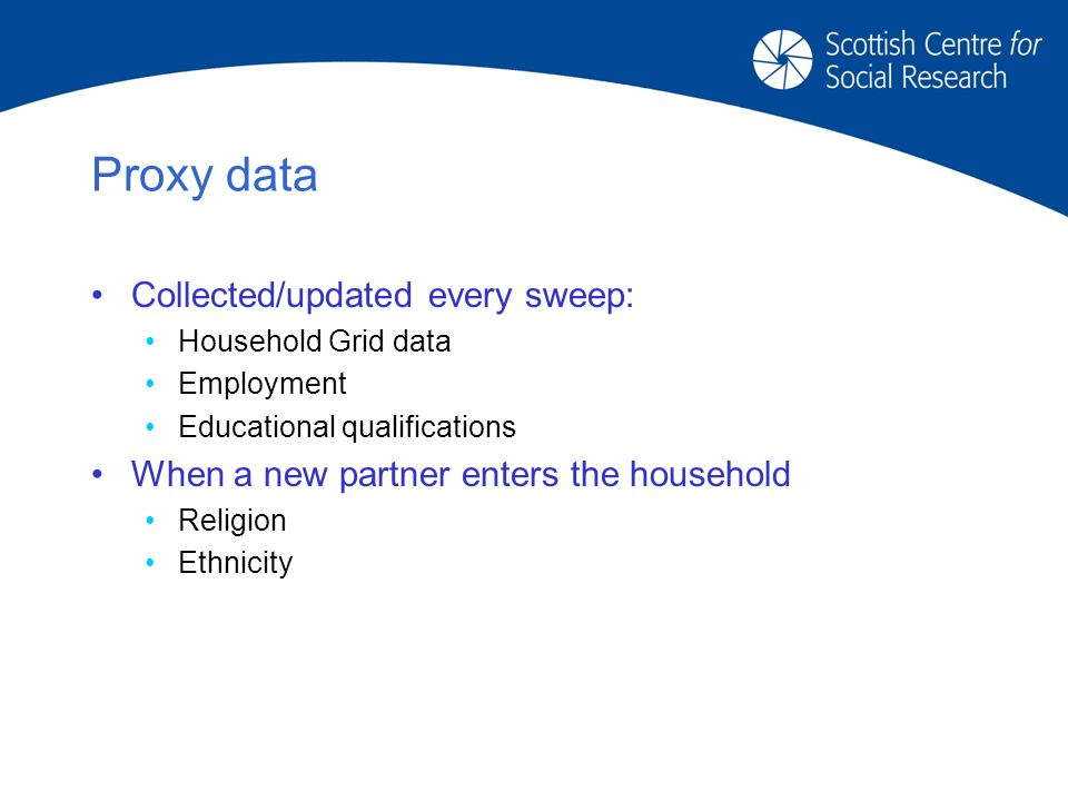 Proxy data Collected/updated every sweep: Household Grid data Employment Educational qualifications When a new partner enters the household Religion Ethnicity