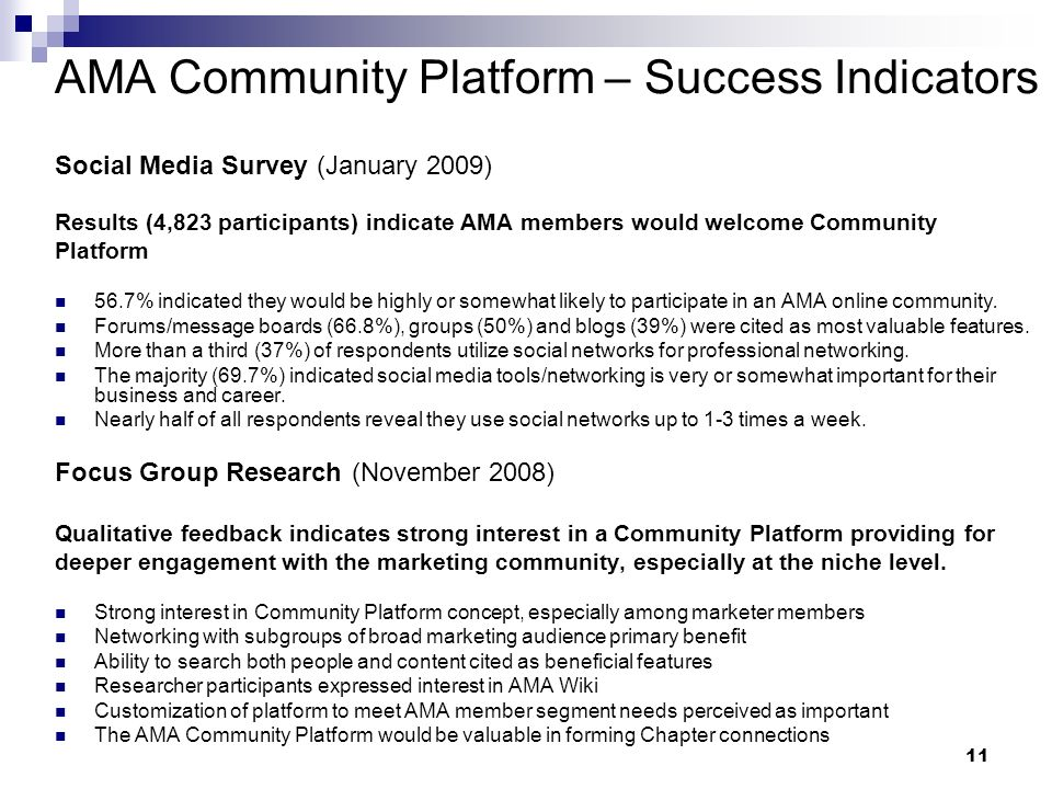 11 AMA Community Platform – Success Indicators Social Media Survey (January 2009) Results (4,823 participants) indicate AMA members would welcome Community Platform 56.7% indicated they would be highly or somewhat likely to participate in an AMA online community.