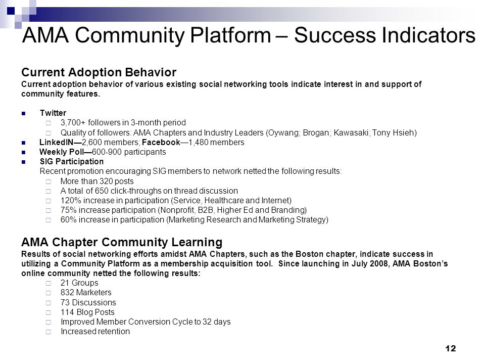 12 Current Adoption Behavior Current adoption behavior of various existing social networking tools indicate interest in and support of community features.