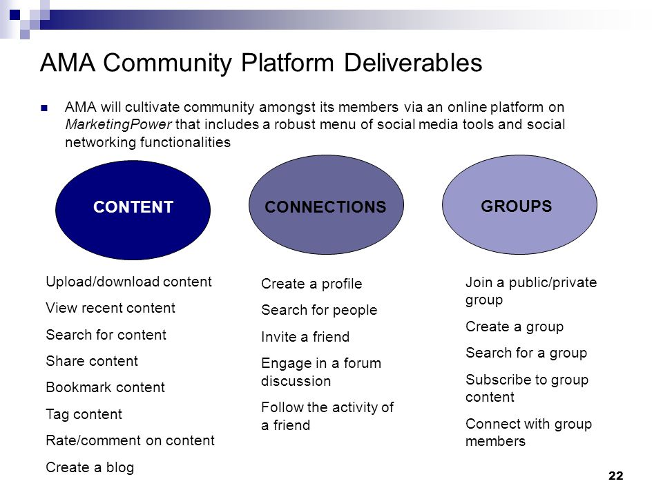 22 AMA Community Platform Deliverables AMA will cultivate community amongst its members via an online platform on MarketingPower that includes a robust menu of social media tools and social networking functionalities CONTENTCONNECTIONS GROUPS Upload/download content View recent content Search for content Share content Bookmark content Tag content Rate/comment on content Create a blog Create a profile Search for people Invite a friend Engage in a forum discussion Follow the activity of a friend Join a public/private group Create a group Search for a group Subscribe to group content Connect with group members