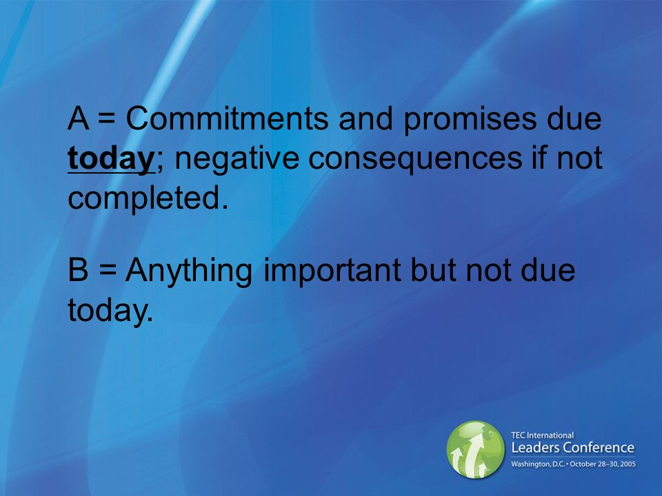 A = Commitments and promises due today; negative consequences if not completed.