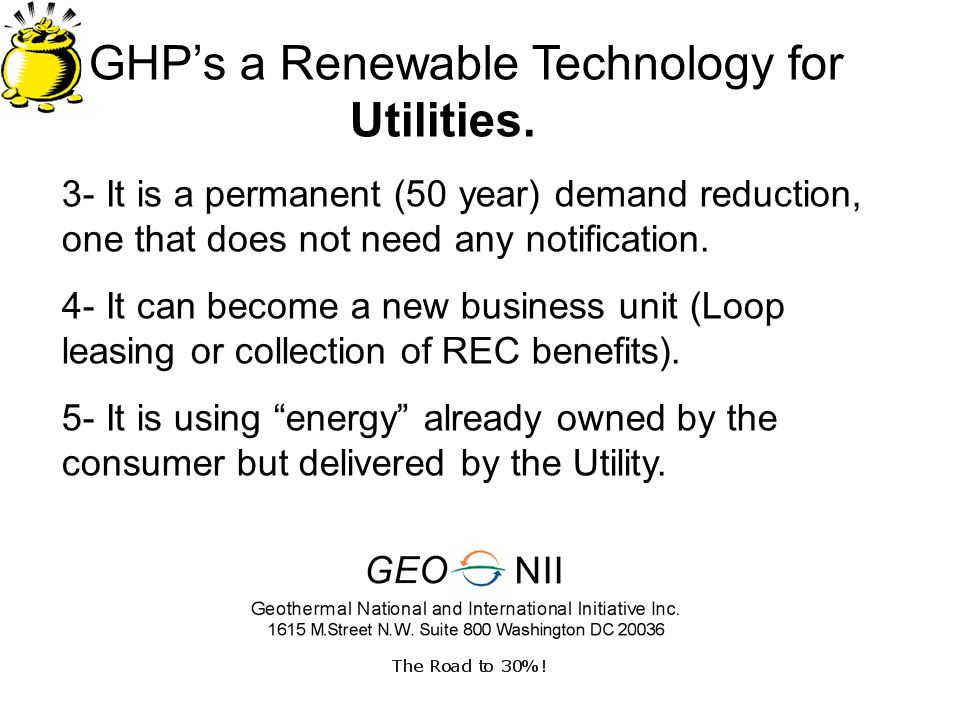 GHPs a Renewable Technology for Utilities.