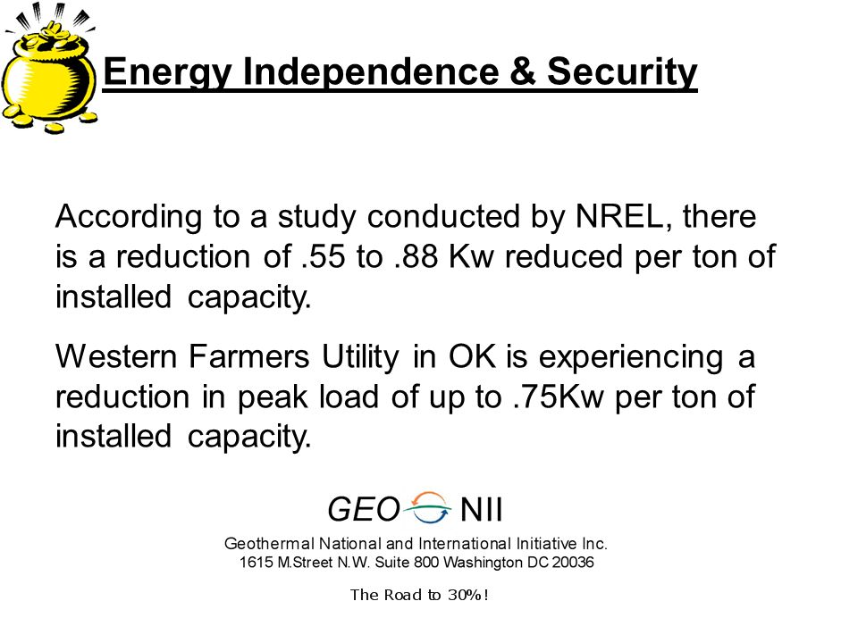 Energy Independence & Security According to a study conducted by NREL, there is a reduction of.55 to.88 Kw reduced per ton of installed capacity.