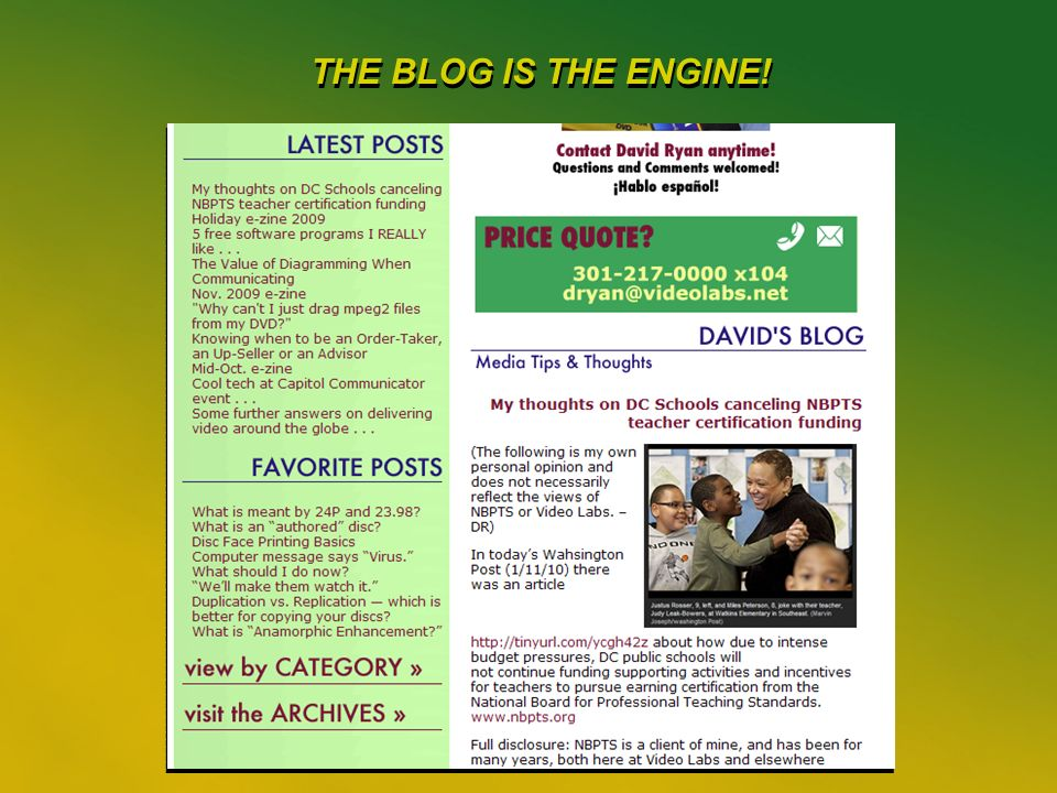 29 THE BLOG IS THE ENGINE!