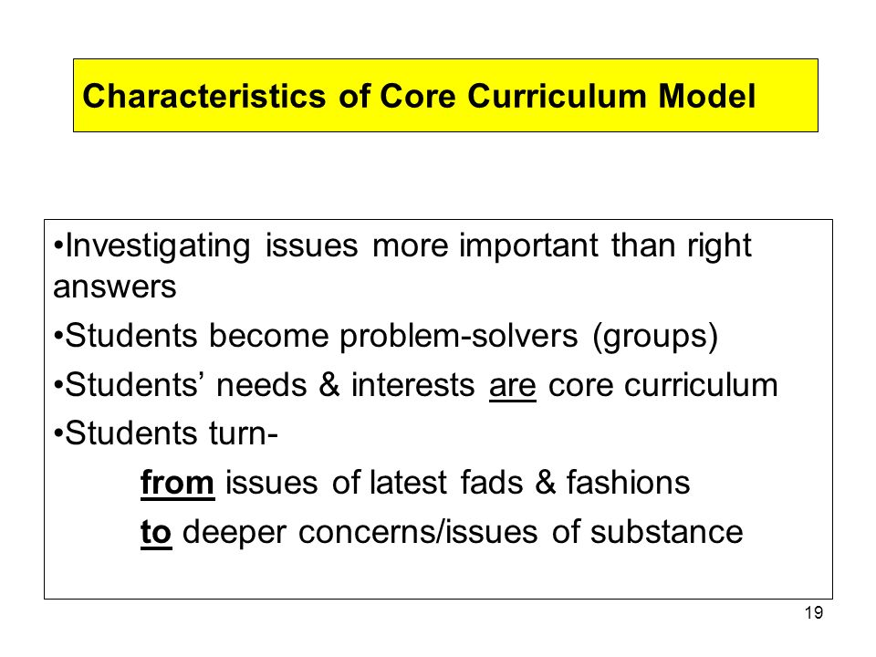 18 Interdisciplinary & Inter-thematic Curricular Designs Interdisciplinary Instruction defined: More than 1 teacher working cooperatively to develop & create educational opportunities Interdisciplinary Curriculum defined: more than 1 discipline examining a central theme, issue, topic or problem
