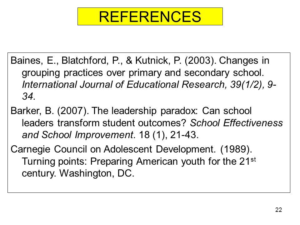 21 Summary & Conclusions This presentation has attempted to share several key factors which recent research has shown to directly influence student performance for Middle Schoolers.
