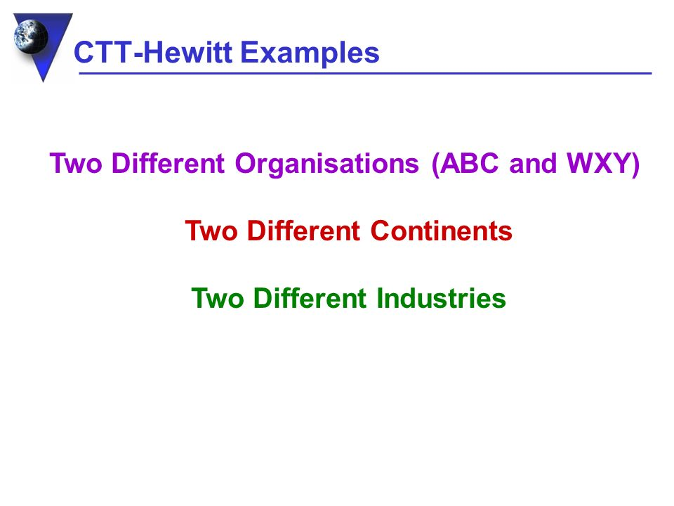 CTT-Hewitt Examples Two Different Organisations (ABC and WXY) Two Different Continents Two Different Industries
