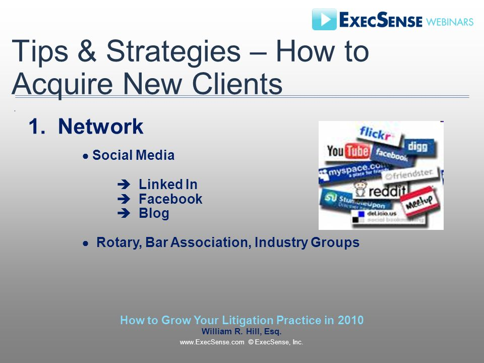 Tips & Strategies – How to Acquire New Clients 1.