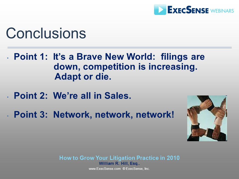 Conclusions Point 1: Its a Brave New World: filings are down, competition is increasing.