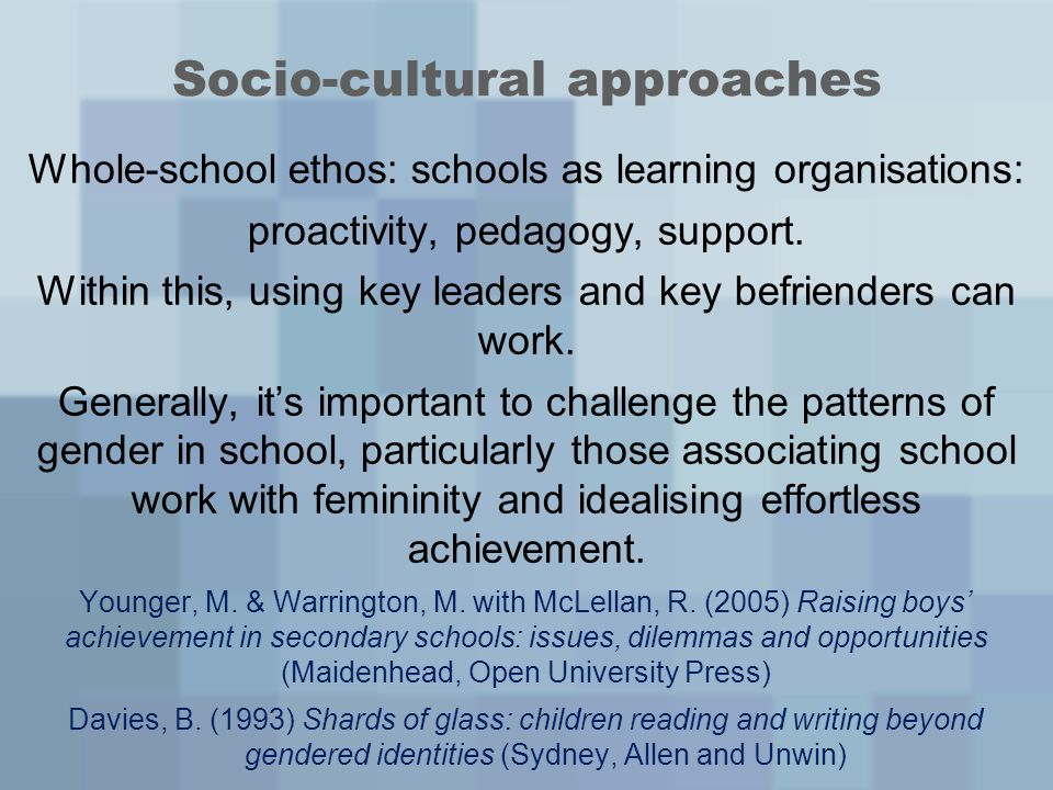 Socio-cultural approaches Whole-school ethos: schools as learning organisations: proactivity, pedagogy, support.