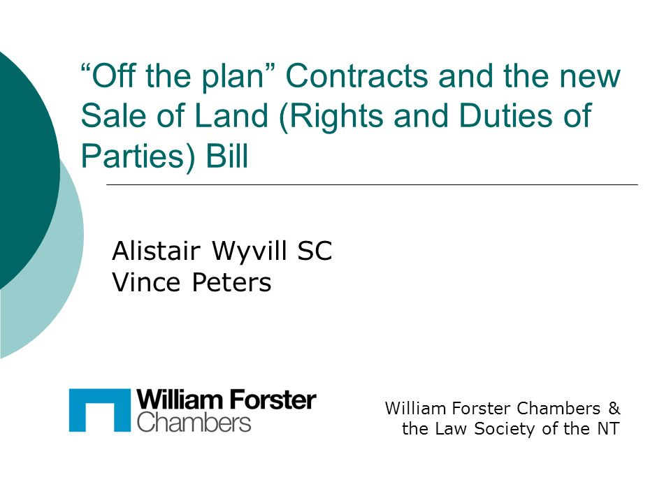 off the plan contracts and the new sale of land rights and duties