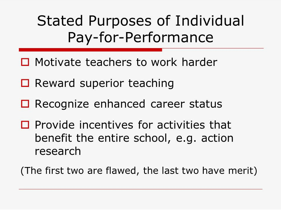 Stated Purposes of Individual Pay-for-Performance Motivate teachers to work harder Reward superior teaching Recognize enhanced career status Provide incentives for activities that benefit the entire school, e.g.