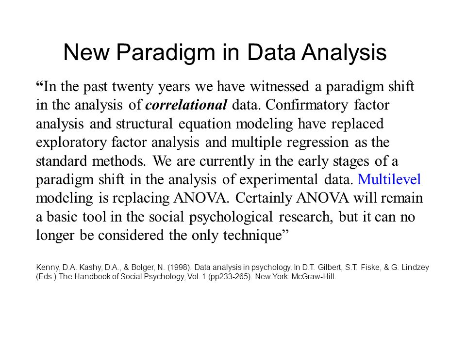 In the past twenty years we have witnessed a paradigm shift in the analysis of correlational data.