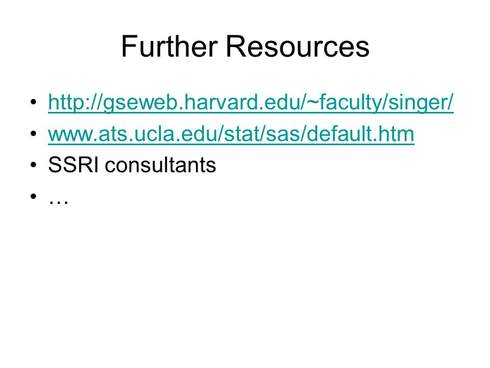 Further Resources     SSRI consultants …