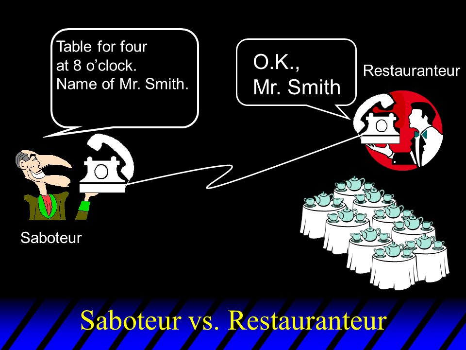 Saboteur vs. Restauranteur Saboteur Restauranteur Table for four at 8 oclock.