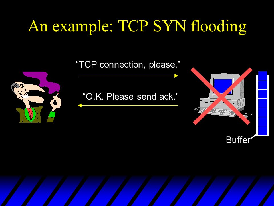 An example: TCP SYN flooding TCP connection, please.