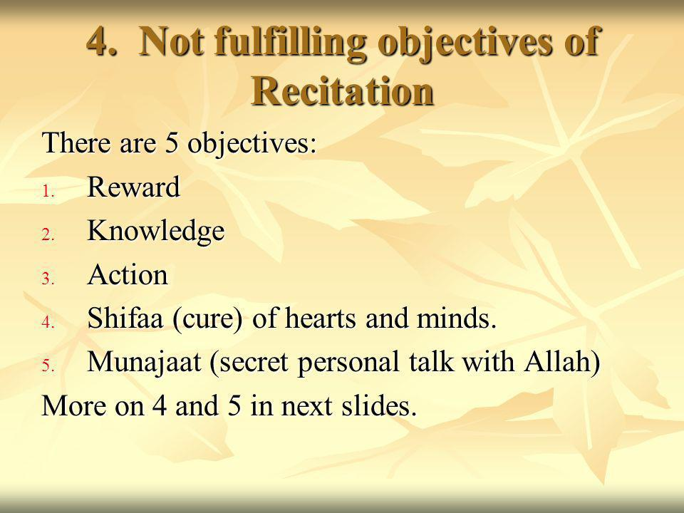 4. Not fulfilling objectives of Recitation There are 5 objectives: 1.