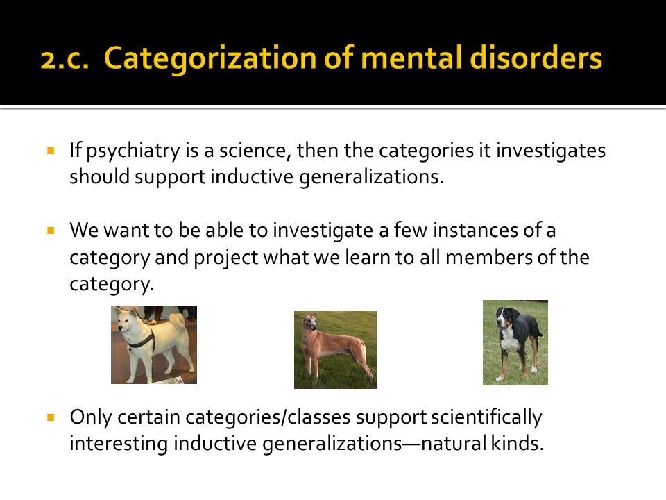 If psychiatry is a science, then the categories it investigates should support inductive generalizations.