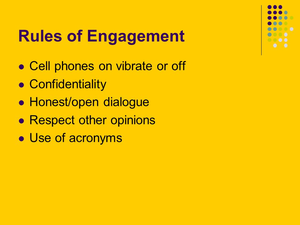 Rules of Engagement Cell phones on vibrate or off Confidentiality Honest/open dialogue Respect other opinions Use of acronyms