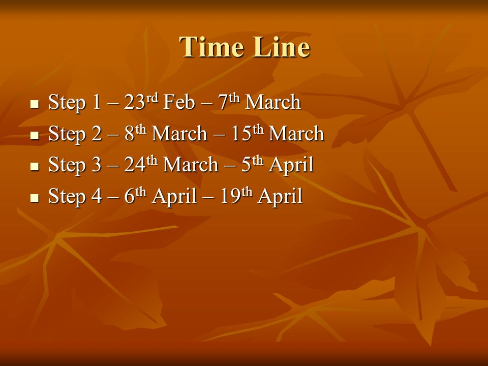 Time Line Step 1 – 23 rd Feb – 7 th March Step 1 – 23 rd Feb – 7 th March Step 2 – 8 th March – 15 th March Step 2 – 8 th March – 15 th March Step 3 – 24 th March – 5 th April Step 3 – 24 th March – 5 th April Step 4 – 6 th April – 19 th April Step 4 – 6 th April – 19 th April