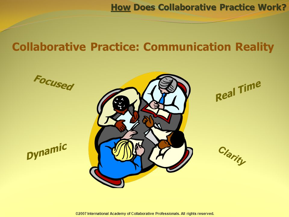 Collaborative Practice: Communication Reality Focused Dynamic Real Time How Does Collaborative Practice Work.
