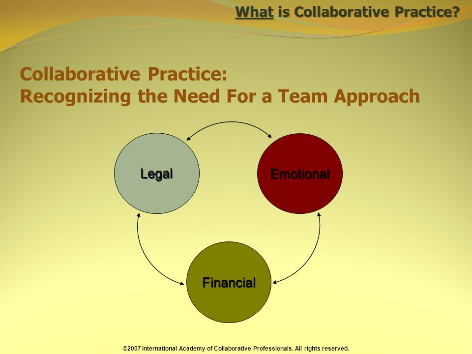 Collaborative Practice: Recognizing the Need For a Team Approach Legal Financial Emotional ©2007 International Academy of Collaborative Professionals.