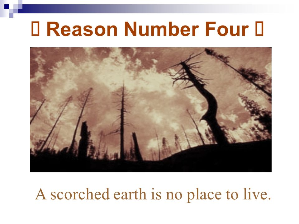 ï Reason Number Four ï A scorched earth is no place to live.