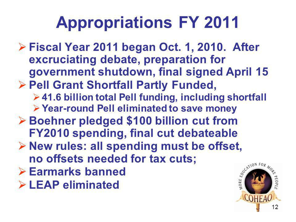 12 Appropriations FY 2011 Fiscal Year 2011 began Oct.