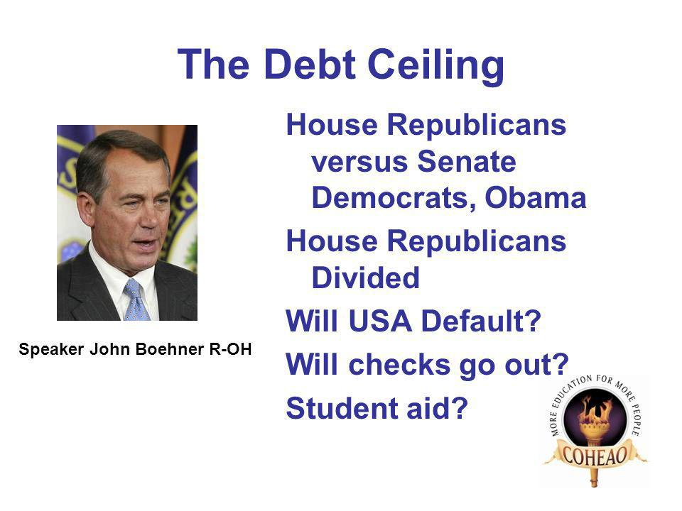 The Debt Ceiling House Republicans versus Senate Democrats, Obama House Republicans Divided Will USA Default.