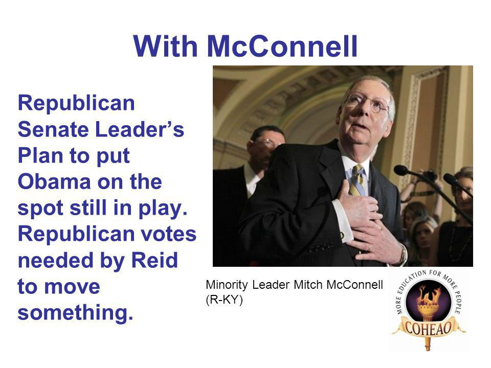 With McConnell Republican Senate Leaders Plan to put Obama on the spot still in play.