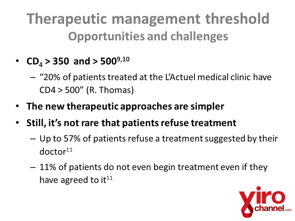 CD 4 > 350 and > 500 9,10 –20% of patients treated at the LActuel medical clinic have CD4 > 500 (R.