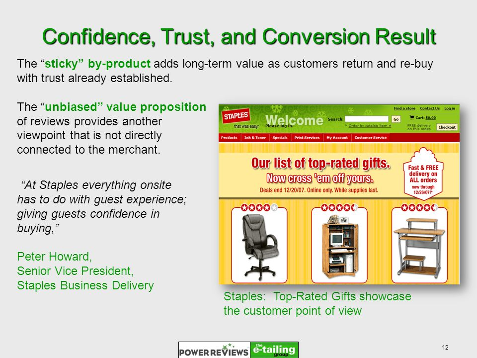12 Confidence, Trust, and Conversion Result At Staples everything onsite has to do with guest experience; giving guests confidence in buying, Peter Howard, Senior Vice President, Staples Business Delivery Staples: Top-Rated Gifts showcase the customer point of view The sticky by-product adds long-term value as customers return and re-buy with trust already established.