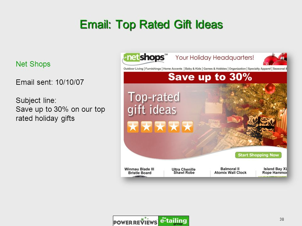 38 Email: Top Rated Gift Ideas Net Shops Email sent: 10/10/07 Subject line: Save up to 30% on our top rated holiday gifts