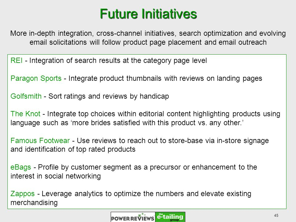 45 Future Initiatives Future Initiatives More in-depth integration, cross-channel initiatives, search optimization and evolving email solicitations will follow product page placement and email outreach REI - Integration of search results at the category page level Paragon Sports - Integrate product thumbnails with reviews on landing pages Golfsmith - Sort ratings and reviews by handicap The Knot - Integrate top choices within editorial content highlighting products using language such as more brides satisfied with this product vs.
