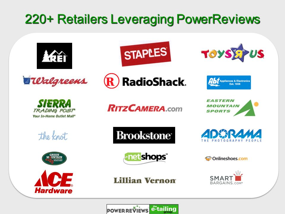 220+ Retailers Leveraging PowerReviews