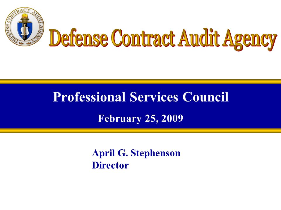 Professional Services Council February 25, 2009 April G. Stephenson Director