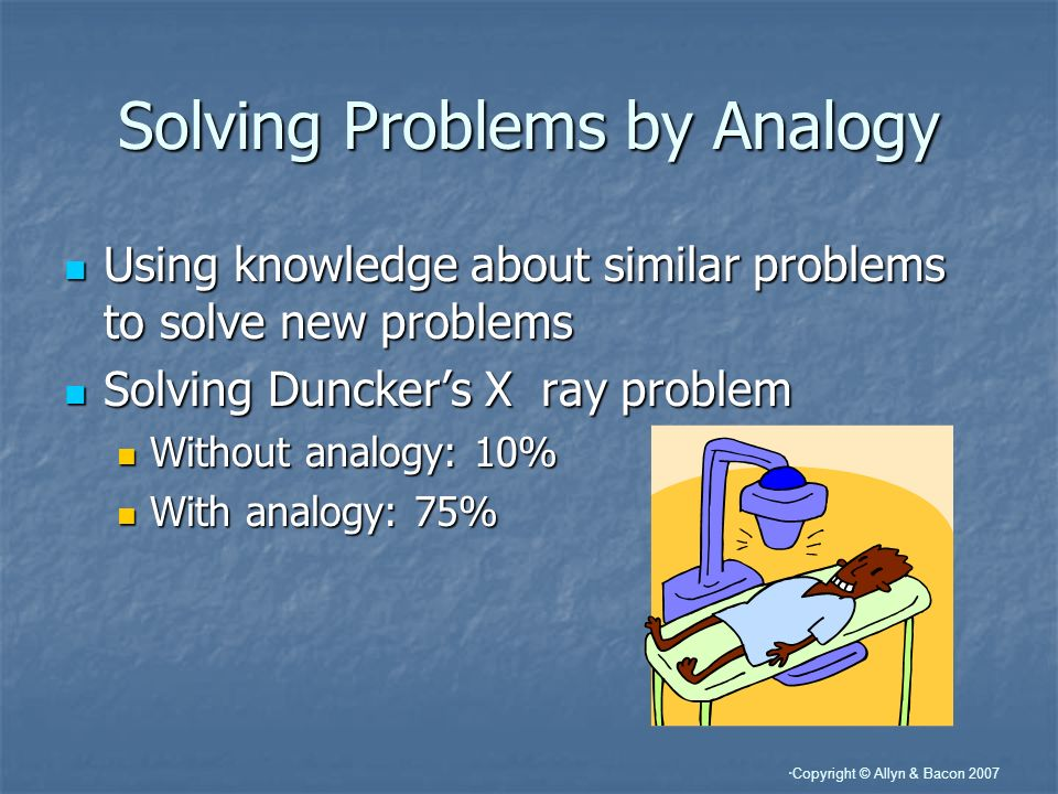 Copyright © Allyn & Bacon 2007 Solving Problems by Analogy Using knowledge about similar problems to solve new problems Using knowledge about similar problems to solve new problems Solving Dunckers X ray problem Solving Dunckers X ray problem Without analogy: 10% Without analogy: 10% With analogy: 75% With analogy: 75%