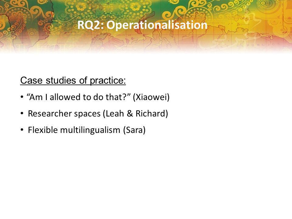 RQ2: Operationalisation Case studies of practice: Am I allowed to do that.