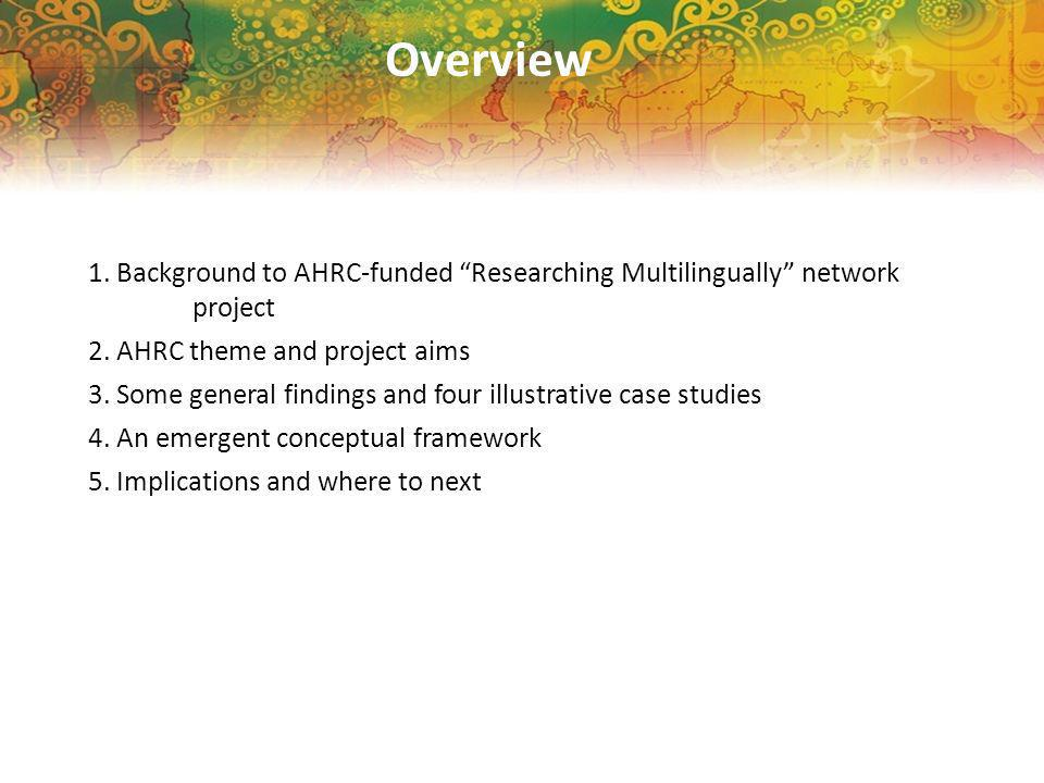 Overview 1. Background to AHRC-funded Researching Multilingually network project 2.